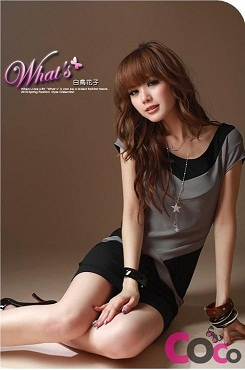 fashion korean personality colormatching t shirt