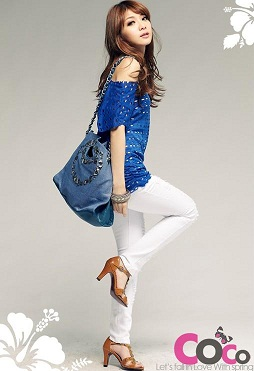 blue fashion korean sleeve blouses