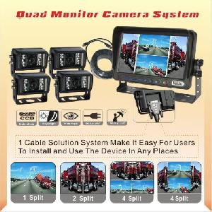rear view up reverse camera system 7 tft lcd quad monitor agriculture farm tractor