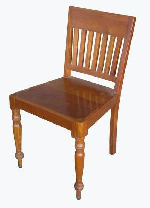Simply Dining Chair With Vertical Slats, Bun Feet Teak Mahogany Wooden  Indoor Furniture Solid
