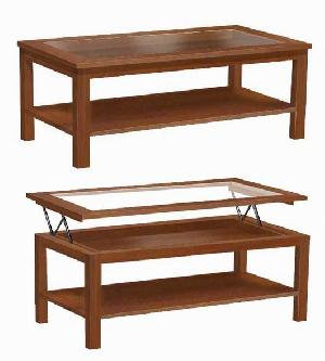 mesa centro rectangular elevable table glass mahogany indoor furniture