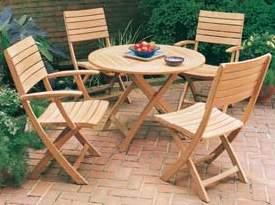 round folding outdoor teak teka garden furniture java indonesia