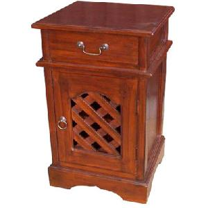 solid mahogany antque hole bedside night stand bedroom wooden indoor furniture java indonesia