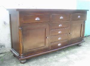 solid mahogany buffet cabinet seven drawers doors wooden indoor furniture java indonesia