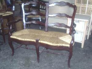 solid mahogany woven dining chair sofa benches wooden rattan indoor furniture