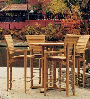 Teak London Outdoor Elegance Bar Round Table Chairs Teka Garden Furniture  Java Solid