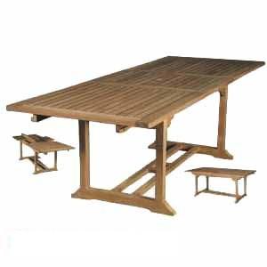 teak solid rectangular extension table java bali indonesia teka outdoor garden furniture knock