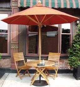 teak terrace orange folding round table umbrella teka outdoor garden furniture