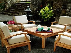 teak patio deep depth sofa set with water resistance cushion teka wooden garden outdoor furniture