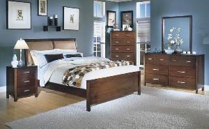 Mahogany Minimalist Jepara Bedroom Set With Leather Headboard Wooden