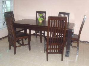teak mahogany wooden java dining room six chairs table kiln dry indoor furniture
