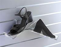 slatwall acrylic shoe shelves sloping