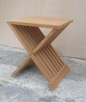 barbara teka folding stool solid teak outdoor garden furniture bali java indonesia