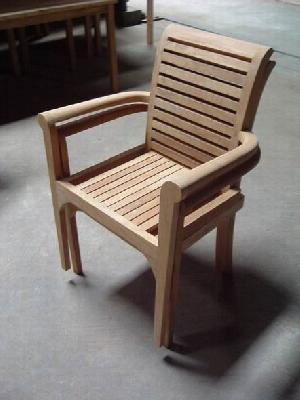 barcelona stacking chair audia solid teak teka outdoor garden furniture bali java indonesia