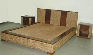 Milan Banana Leaf Bed With Bedside Woven Rattan Wicker Indoor Furniture  Java Indonesia