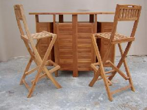 Sweden Teka Bar Set Solid Teak Outdoor Garden Furniture Bali Java - Teak pub table and chairs