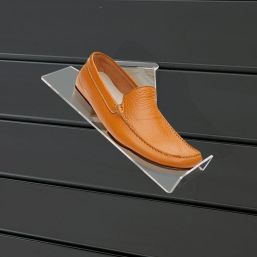 acrylic perspex shoe shelf right hand sloping