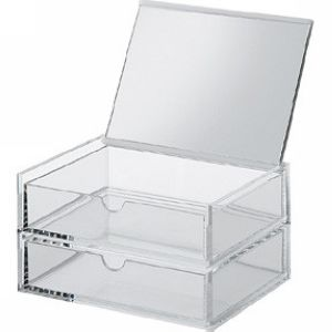 acrylic box 2 drawers mirror lid narrow
