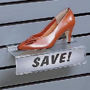 plexi slatwall shoe shelf sign holder
