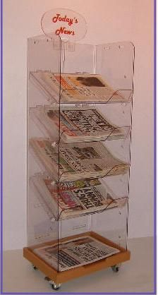5 tier acrylic newspaper display stand