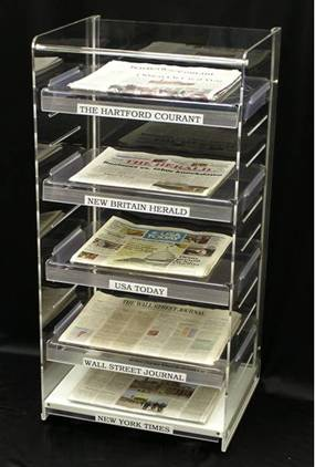 acrylic 5 tier newspaper display stand