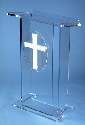 plexiglass church podium cross