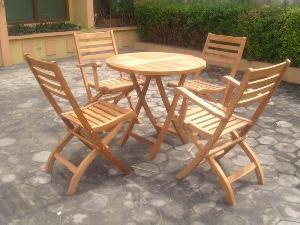 teak garden folding simply jepara bali outdoor furniture round table