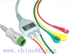 mindray un cable conductor de tres piezas plomo ecg