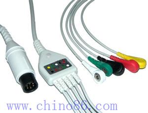 una moneda cinco cable ecg plomo con conductor
