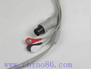 una pieza de tres cable ecg plomo con conductor