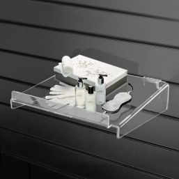 acrylic perspex slatwall shelf side supports lip
