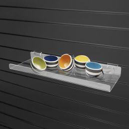 acrylic perspex slatwall shelf lip