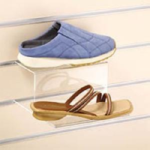 acrylic 2 tier step shoe display shelf