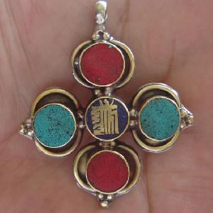 tibetan kalachakra mantra symbol amulet pendant