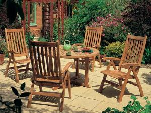 teka reclining dorset five position chairs round table teak outdoor garden furniture