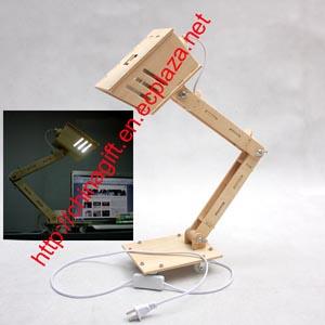 funny assembly diy wood table desk lamp light