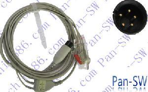 hp uno tres piezas plomo cable ecg cinco pines