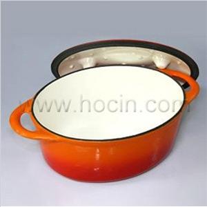 oval cast iron covered casserole orange