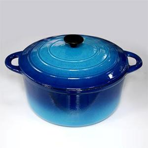 round cast iron casserole grident blue