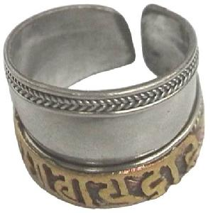 adjustable tibetan silver mantra om mani ring nepal