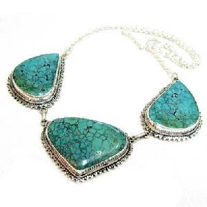 tibetan handmade turquoise silver necklace