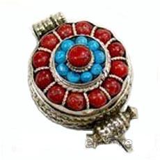 tibetan coral prayer box pendant