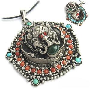 tibetan silver gemstone dragon head ghau prayer box amulet