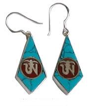 tibetan sterling silver om earrings