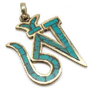 tibetan sterling silver turquoise om pendant