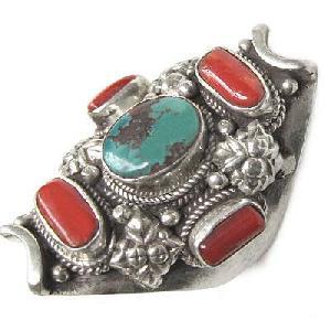 tibetan sterling turquoise jewel saddle ring