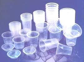 transparent plastic cups