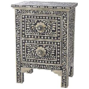 bone inlay bedside table cabinet nightstand