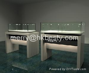 glass wooded jewelry display showcase