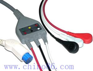 datex una de tres piezas plomo cable ecg y derivaciones
